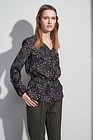Женская осенняя черная блуза BURVIN 7052-51 40р.