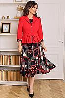 Женский осенний шифоновый комплект с платьем Мода Юрс 2513-1 красный-черный 48р.
