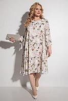 Женское летнее бежевое нарядное большого размера платье Michel chic 2049 беж+цветы 52р.