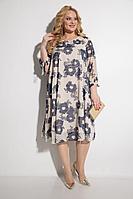 Женское летнее нарядное большого размера платье Michel chic 2049 беж+синий 52р.