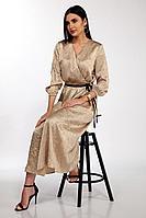 Женское летнее бежевое нарядное платье Anna Majewska 1450 золото 44р.