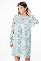 Женское осеннее шифоновое платье Anelli 1013 бирюза 44р.