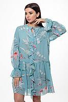 Женское осеннее шифоновое платье Anelli 1019 бирюза 44р.