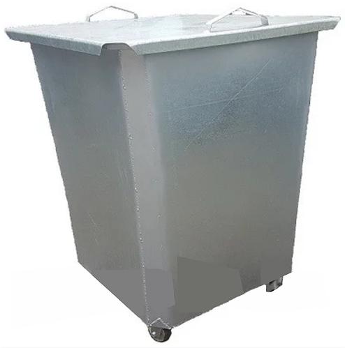 Оцинкованный нержавеющий мусорный контейнер 0,75 куб с крышкой на колесах