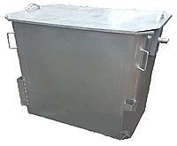Мусорный контейнер оцинкованный 1100 л без колес с крышкой