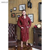 Халат мужской с капюшоном, размер 58, бордовый, махра