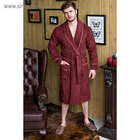 Халат мужской, шалька, размер 56, бордовый, махра