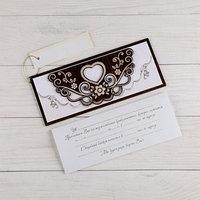 Деревянная открытка-приглашение 'Свадебная' конгрев, накладной элемент, сердечко