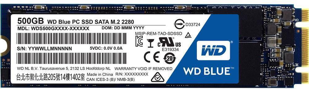 Твердотельный накопитель 500GB SSD WD Серия BLUE 3D NAND M.2 WDS500G2B0B.