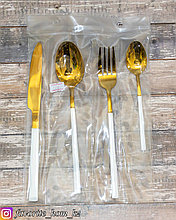 Набор столовых приборов. Материал: Металл. Цвет: Золотистый/Белый. Набор: 4 предмета.