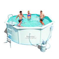 Сборный круглый бассейн Bestway Hydrium 56574 (360x120 см) с песочным фильтром, лестницей и тентом, фото 1
