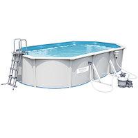 Сборный бассейн Bestway Hydrium 56369 (610х360х120 см) с песочным фильтром, лестницей и тентом, фото 1