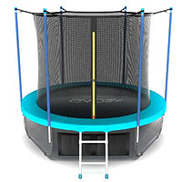 Батут EVO JUMP Internal 8 ft, d=244 см, с внутренней сеткой, нижней сеткой и лестницей, морская волна