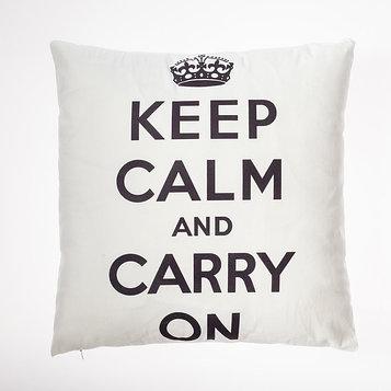 """Наволочка декоративная Этель """"Keep calm"""" цв.белый 42 х 42 см, 100% п/э"""