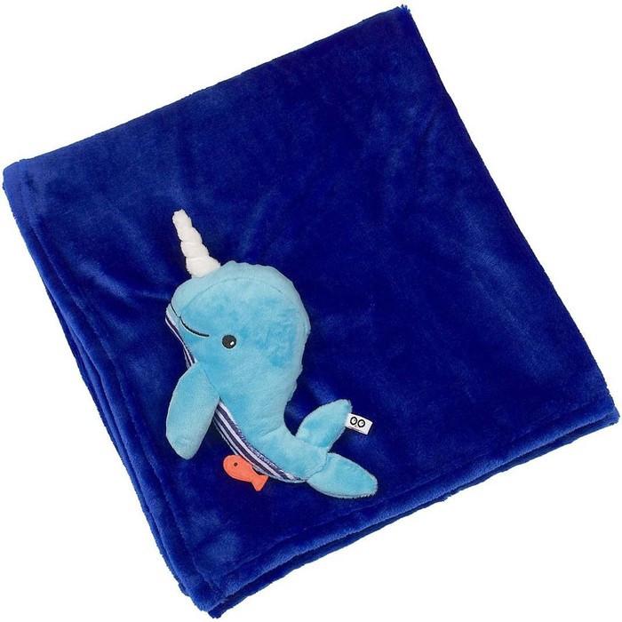 Одеяло с игрушкой Zoocchini «Кит», 0+ мес, цвет синий