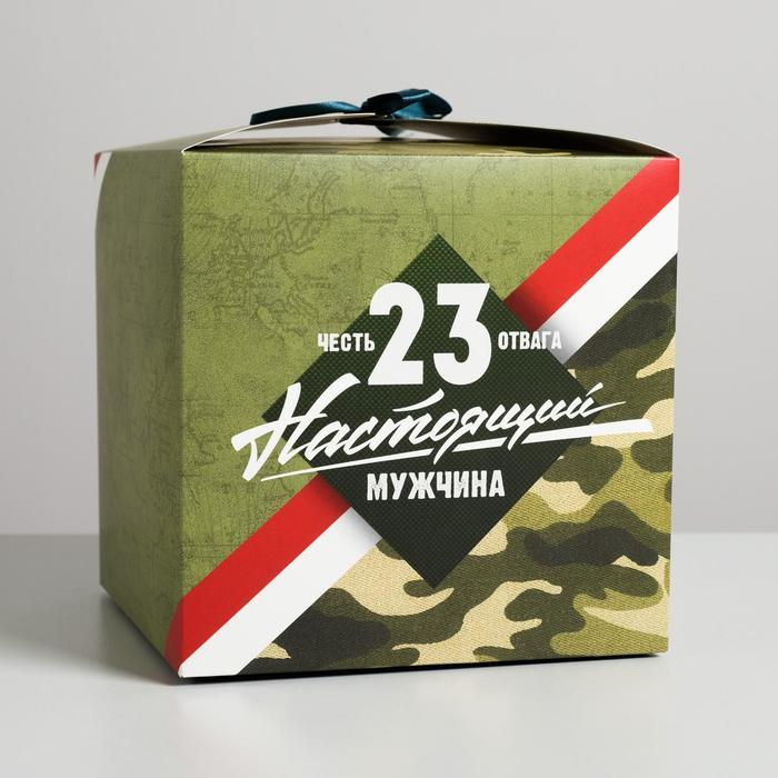 Коробка складная «Настоящему мужчине», 18 × 18 × 18 см