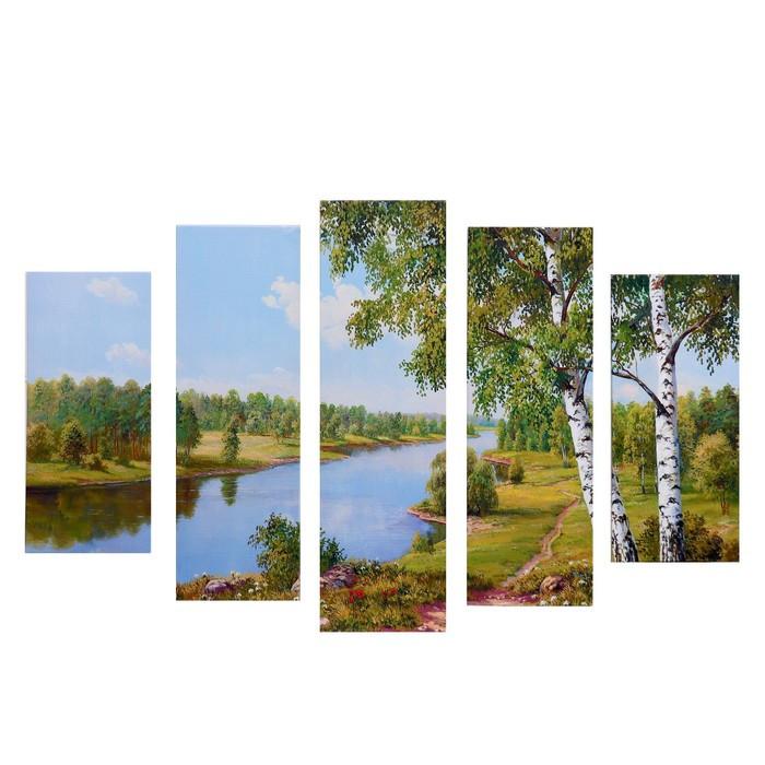 """Модульная картина """"Летний берег"""" (2-23х52; 2-24х70; 1-24х80) 120х80см"""