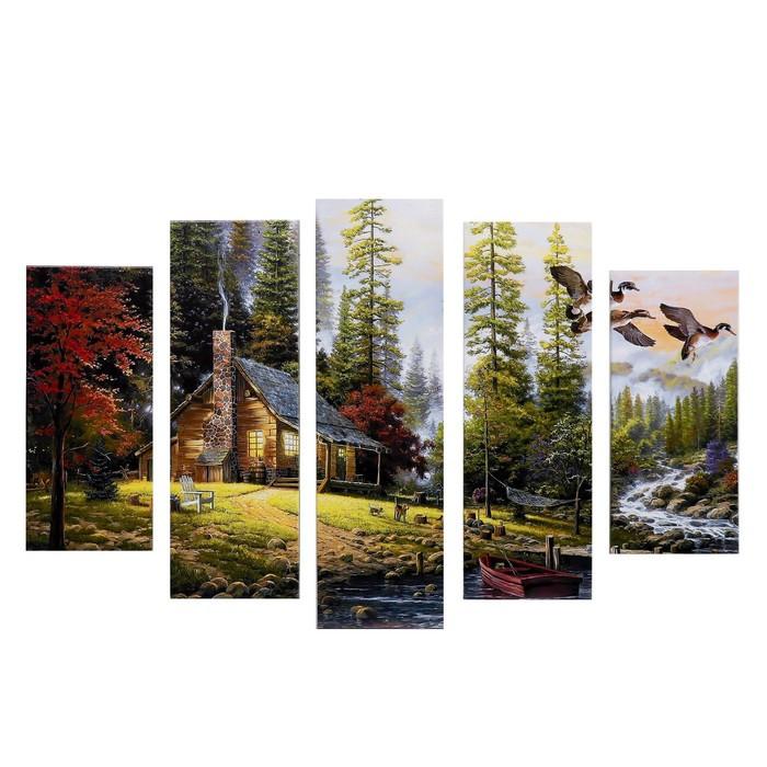 """Модульная картина """"Домик в лесу"""" (2-23х52; 2-24х70; 1-24х80) 120х80см"""