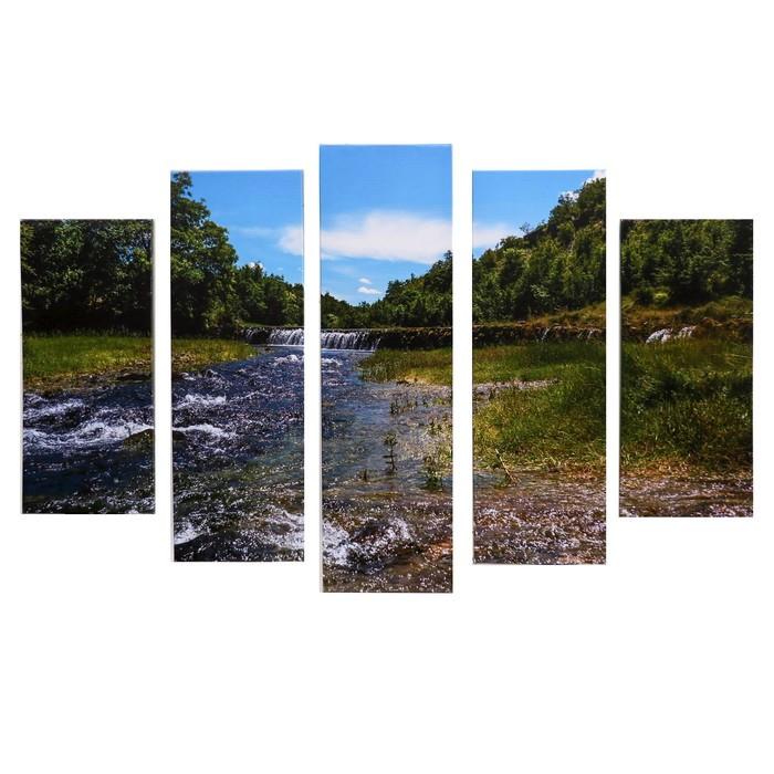 """Модульная картина """"Горная река"""" (2-23х52; 2-24х70; 1-24х80) 120х80см"""