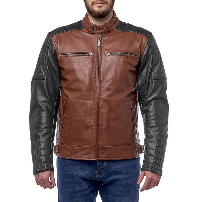Куртка Bravo 7, кожа, коричневый, чёрный, S