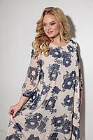 Женское летнее нарядное большого размера платье Michel chic 2049 беж+синий 62р.