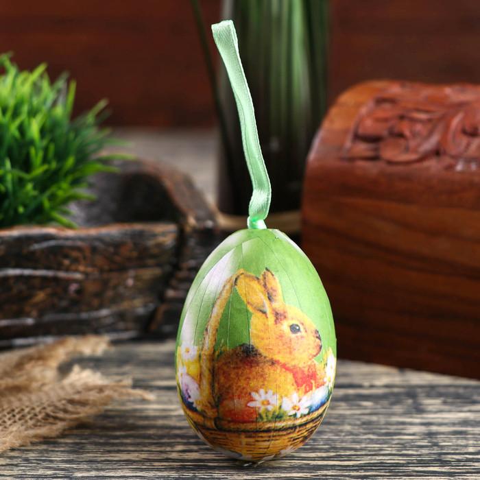 """Декор пасхальный подвеска """"Зайка в корзине с ромашками"""" набор 6 шт яйцо 5х7 см"""