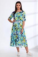 Женское летнее шифоновое большого размера платье Angelina & Сompany 539 голубые_цветы 46р.