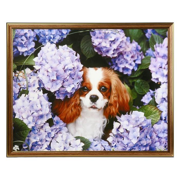 """Картина """"Щенок в цветах"""" 43х53 см"""