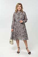 Женское осеннее черное большого размера платье Pretty 1987 черно-белый_лапка 50р.