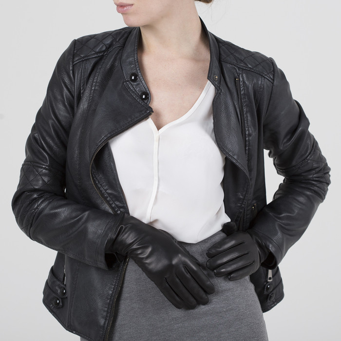 Перчатки женские, размер 8, длина 25 см, с подкладом шерсть, цвет чёрный