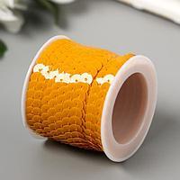 """Нить из пайеток на бобине """"Кругляши пастель жёлто-оранжевые"""" намотка 5 метров d-0,6 см"""
