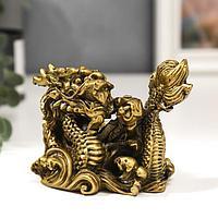 """Нэцке полистоун под бронзу """"Китайский дракон и волны"""" 9х11,5х8 см"""