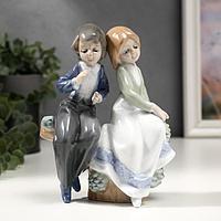 """Сувенир керамика """"Детишки на заборчике"""" цветной 17х6,5х12 см"""