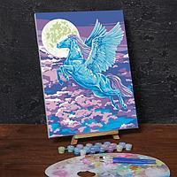 Картина по номерам на холсте с подрамником «Пегас в свете луны», 40х30 см