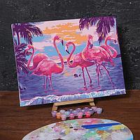 Картина по номерам на холсте с подрамником «Фламинго на закате», 40х30 см