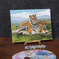 Картина по номерам на холсте с подрамником «Тигры в саванне», 40х30 см
