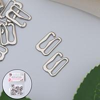 Крючок для бретелей, металлический, 10 мм, 20 шт, цвет серебряный