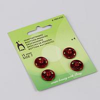 Кнопки пришивные, d = 15 мм, 4 шт, цвет красный