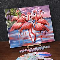 Картина по номерам на холсте с подрамником «Фламинго» 40х50 см