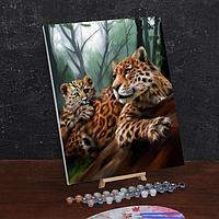 Картина по номерам на холсте с подрамником «Леопарды. Мама и малыш» 40х50 см