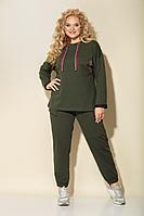 Женский осенний трикотажный зеленый спортивный большого размера спортивный костюм БАГРЯНИЦА 3076 хаки 54р.