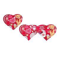 """Открытка-валентинка """"С нежностью!"""" глиттер, мишка, сердца"""