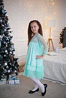 Детское для девочек осеннее голубое нарядное платье R&B ПДС-086 104-56р.