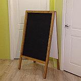 Штендер деревянный ДВУСТОРОННИЙ с черным полотном для мела, фото 4