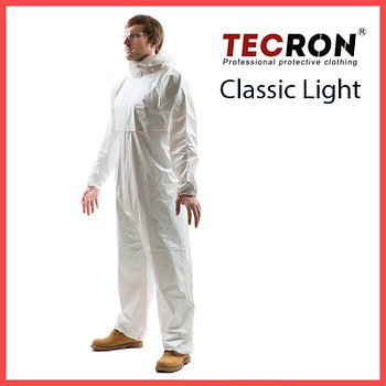 Одноразовые защитный комбинезоны TECRON™ Classic Light (плотность 45-50 г., внешние швы, пальцевые фиксаторы)