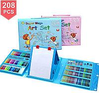 Набор для рисования с мольбертом в чемоданчике 208 предметов набор художника