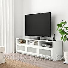 БРИМНЭС Тумба под ТВ, (белый, чёрный) 180x41x53 см, фото 3