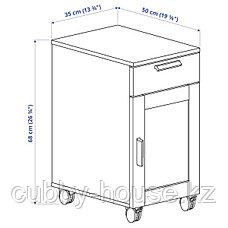 БРИМНЭС Тумба с ящиками на колесах, (белый, черный), 35x68 см, фото 3