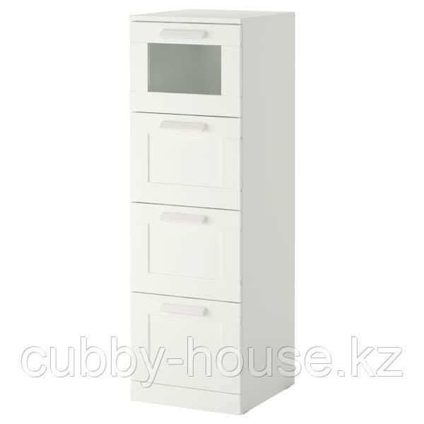 БРИМНЭС Комод с 4 ящиками, (белый, чёрный) матовое стекло, 39x124 см