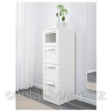 БРИМНЭС Комод с 4 ящиками, (белый, чёрный) матовое стекло, 39x124 см, фото 2